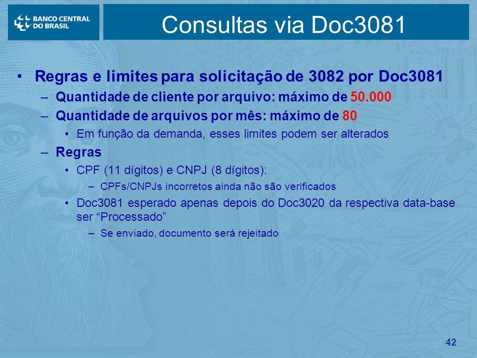 42 Consultas via Doc3081 Regras e limites para solicitação de 3082 por Doc3081 –Quantidade de cliente por arquivo: máximo de 50.000 –Quantidade de arq
