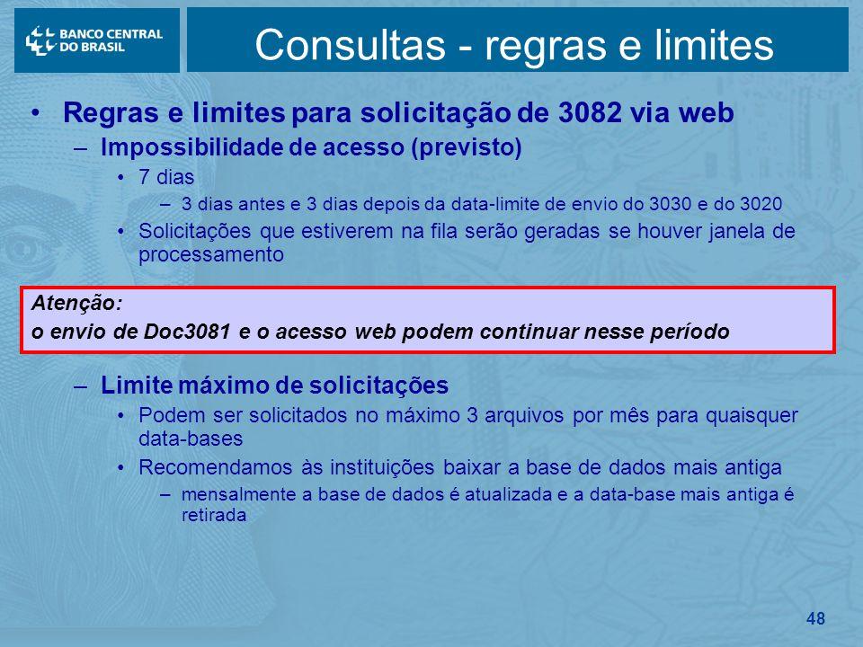 48 Consultas - regras e limites Regras e limites para solicitação de 3082 via web –Impossibilidade de acesso (previsto) 7 dias –3 dias antes e 3 dias
