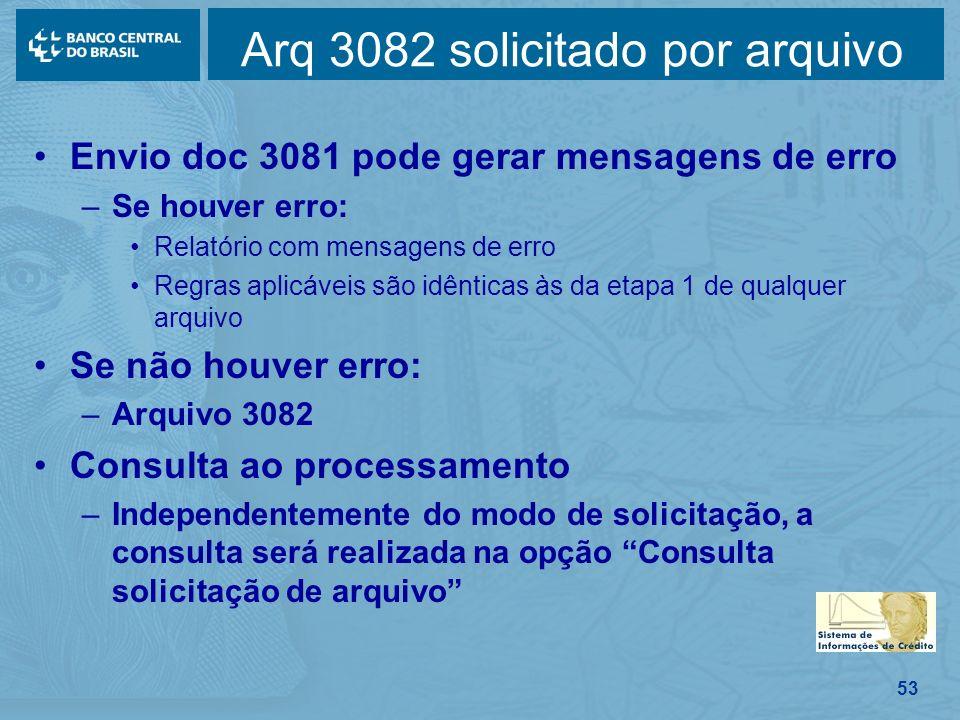 53 Envio doc 3081 pode gerar mensagens de erro –Se houver erro: Relatório com mensagens de erro Regras aplicáveis são idênticas às da etapa 1 de qualq