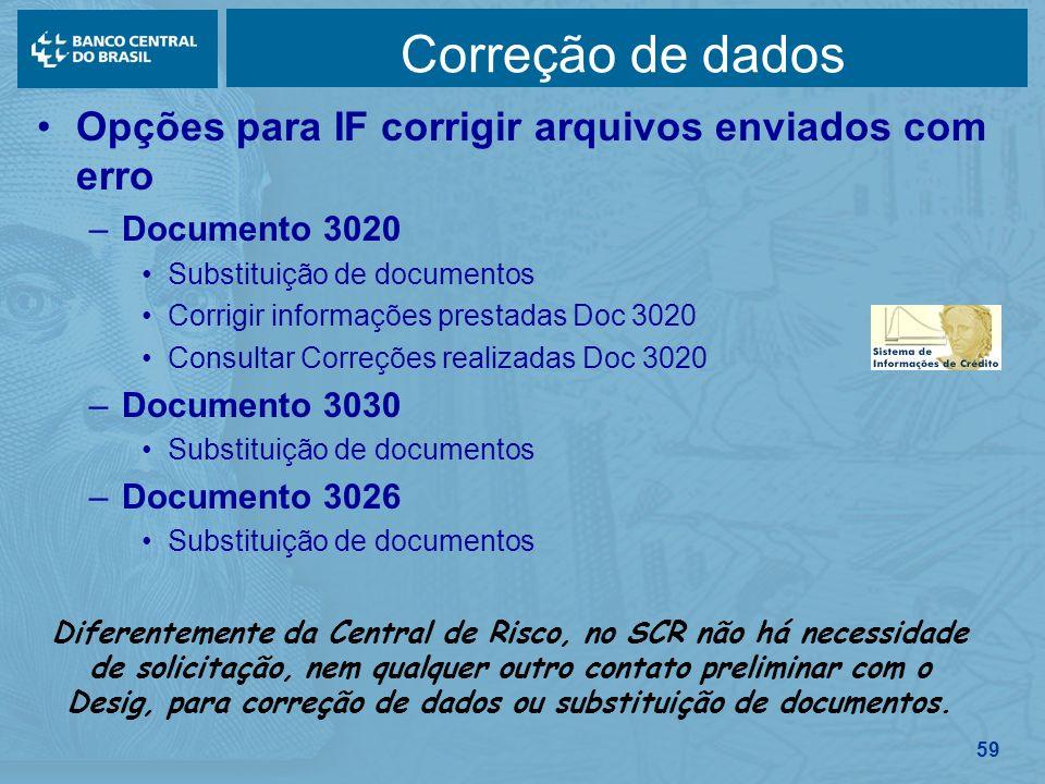 59 Correção de dados Opções para IF corrigir arquivos enviados com erro –Documento 3020 Substituição de documentos Corrigir informações prestadas Doc