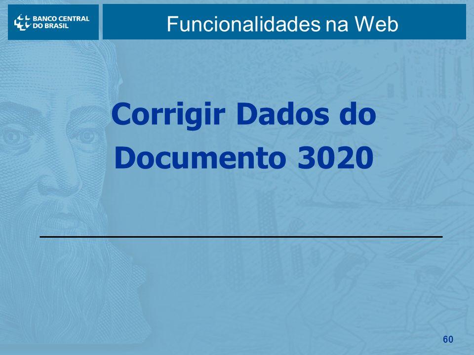 60 Funcionalidades na Web Corrigir Dados do Documento 3020