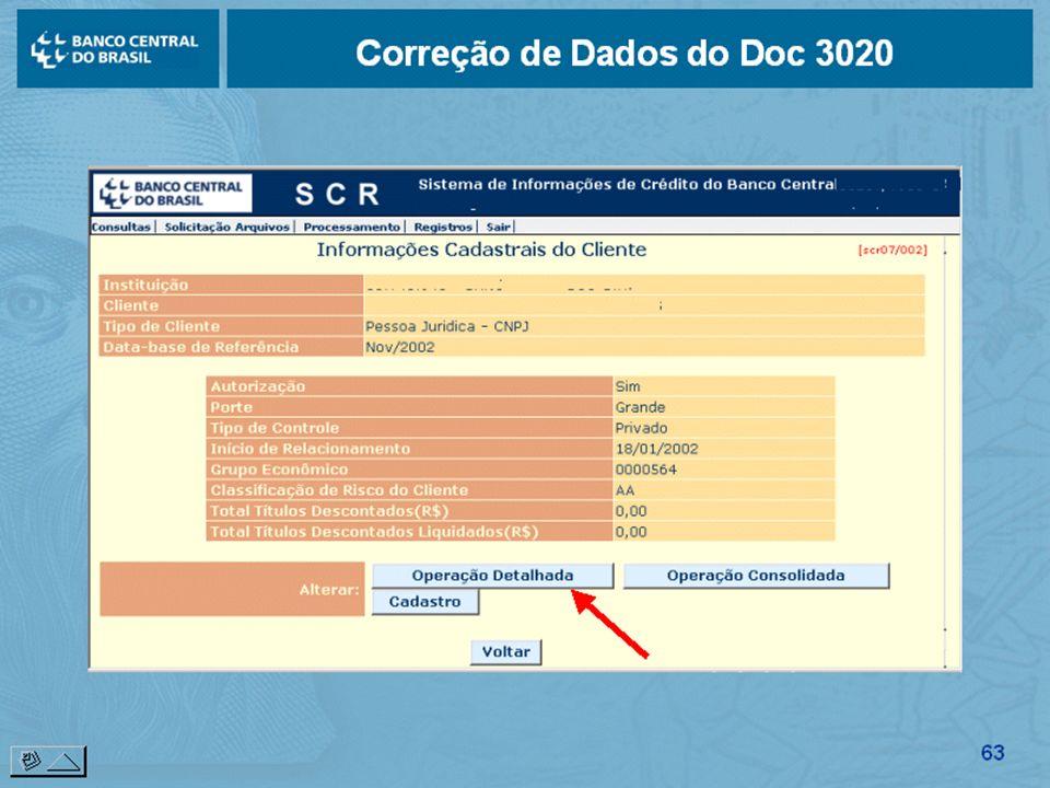 63 Correção de Dados do Doc 3020