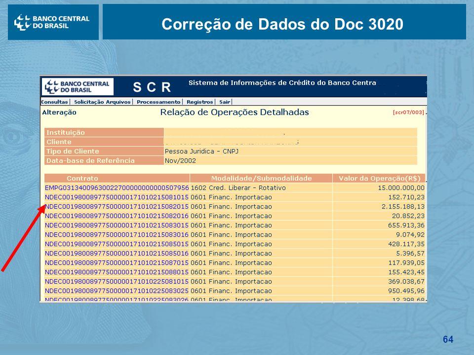 64 Correção de Dados do Doc 3020
