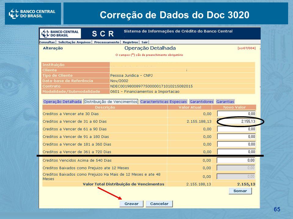 65 Correção de Dados do Doc 3020