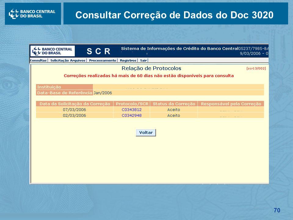 70 Consultar Correção de Dados do Doc 3020