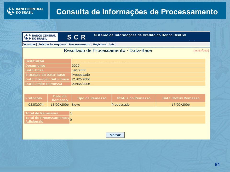 81 Consulta de Informações de Processamento