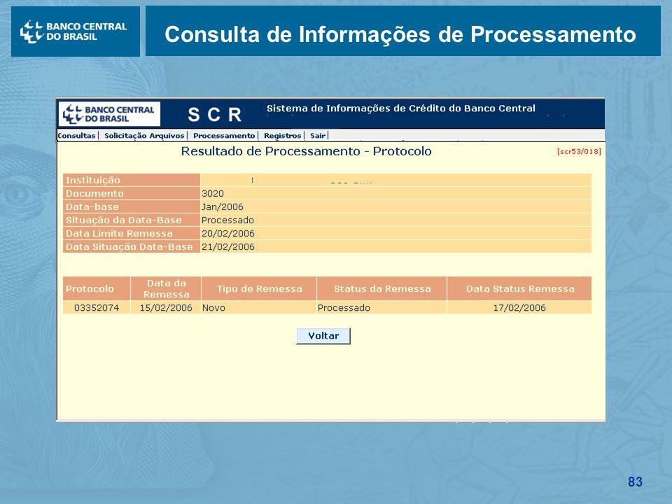 83 Consulta de Informações de Processamento