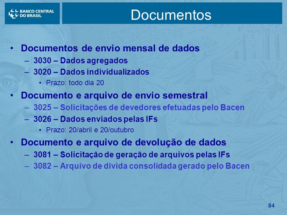 84 Documentos Documentos de envio mensal de dados –3030 – Dados agregados –3020 – Dados individualizados Prazo: todo dia 20 Documento e arquivo de env