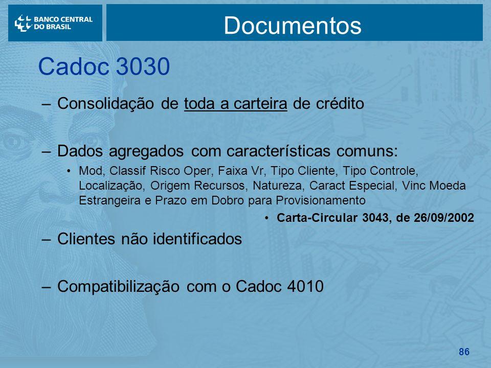 86 Documentos –Consolidação de toda a carteira de crédito –Dados agregados com características comuns: Mod, Classif Risco Oper, Faixa Vr, Tipo Cliente