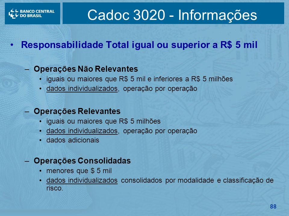 88 Cadoc 3020 - Informações Responsabilidade Total igual ou superior a R$ 5 mil –Operações Não Relevantes iguais ou maiores que R$ 5 mil e inferiores