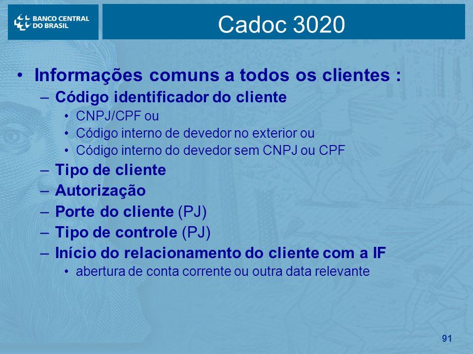 91 Cadoc 3020 Informações comuns a todos os clientes : –Código identificador do cliente CNPJ/CPF ou Código interno de devedor no exterior ou Código in