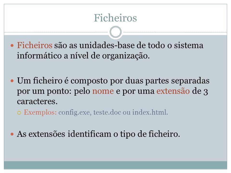 Ficheiros Ficheiros são as unidades-base de todo o sistema informático a nível de organização. Um ficheiro é composto por duas partes separadas por um