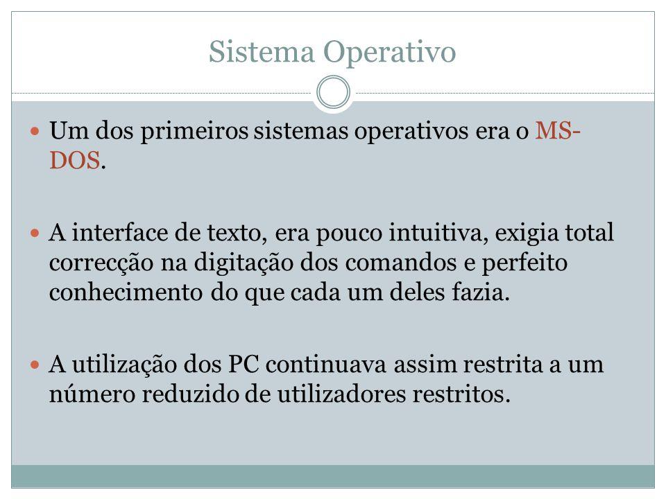 Sistema Operativo Um dos primeiros sistemas operativos era o MS- DOS. A interface de texto, era pouco intuitiva, exigia total correcção na digitação d