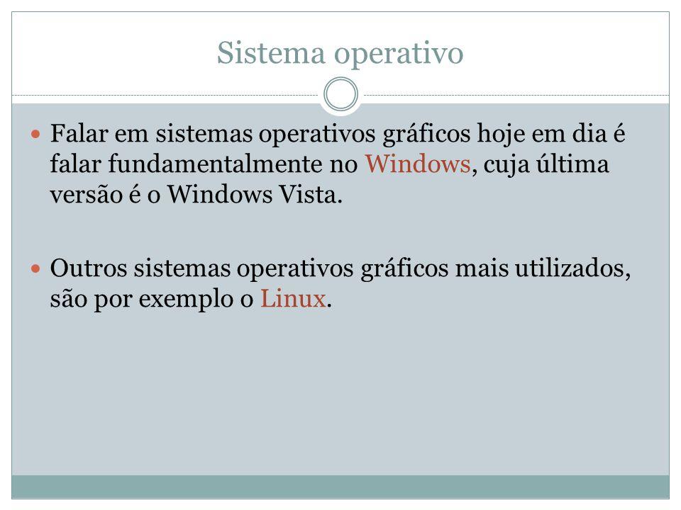 Sistema operativo Falar em sistemas operativos gráficos hoje em dia é falar fundamentalmente no Windows, cuja última versão é o Windows Vista. Outros