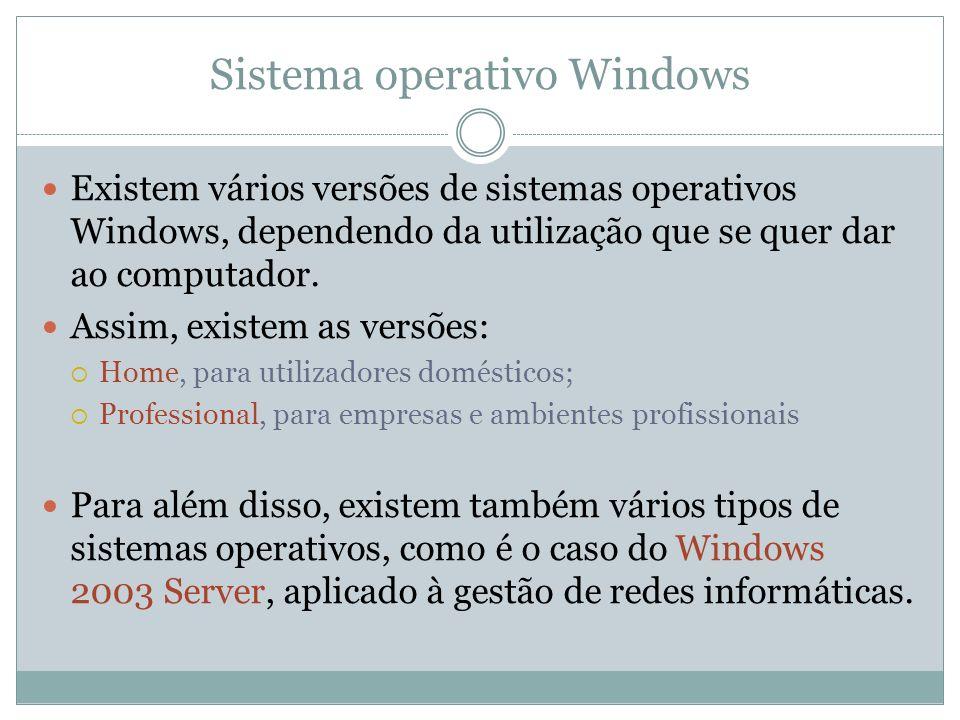 Sistema operativo Windows Existem vários versões de sistemas operativos Windows, dependendo da utilização que se quer dar ao computador. Assim, existe