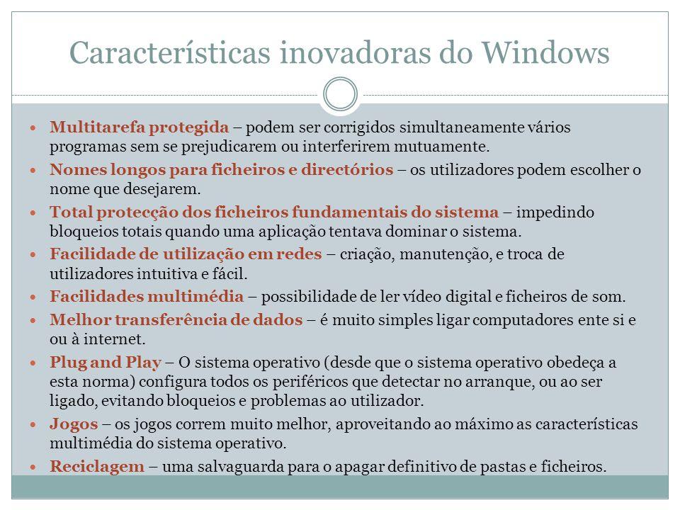 Características inovadoras do Windows Multitarefa protegida – podem ser corrigidos simultaneamente vários programas sem se prejudicarem ou interferire
