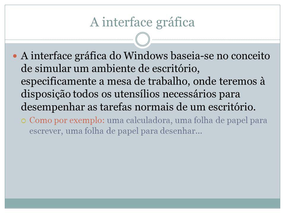 A interface gráfica A interface gráfica do Windows baseia-se no conceito de simular um ambiente de escritório, especificamente a mesa de trabalho, ond