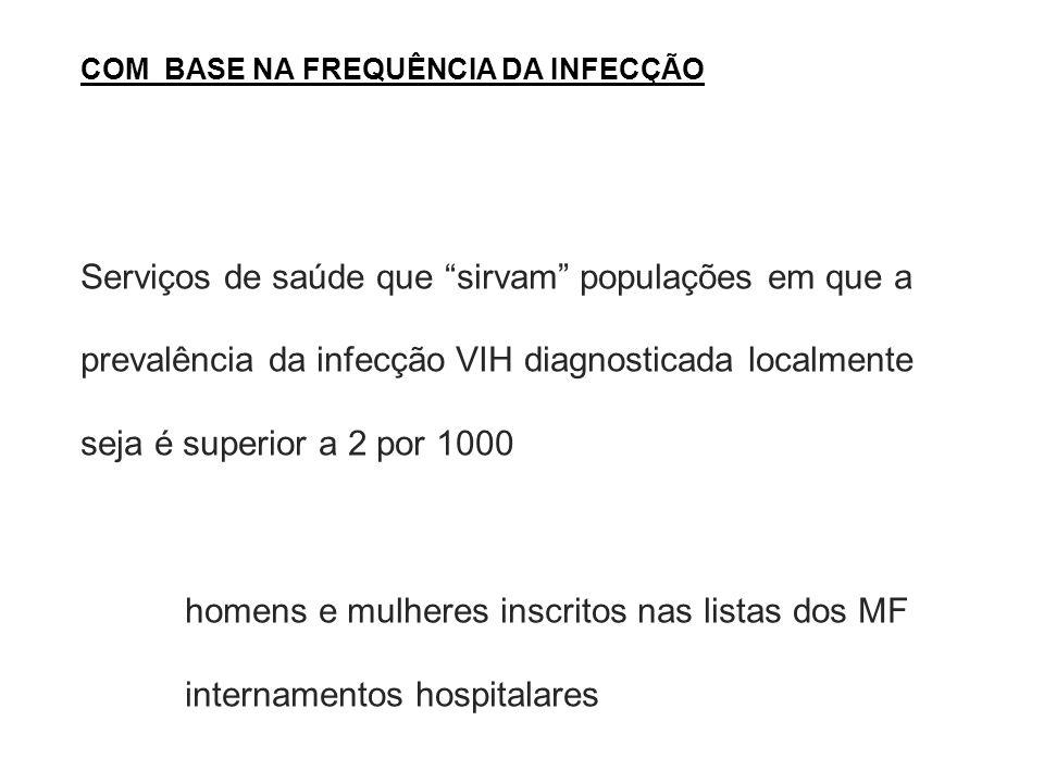 COM BASE NA FREQUÊNCIA DA INFECÇÃO Serviços de saúde que sirvam populações em que a prevalência da infecção VIH diagnosticada localmente seja é superior a 2 por 1000 homens e mulheres inscritos nas listas dos MF internamentos hospitalares