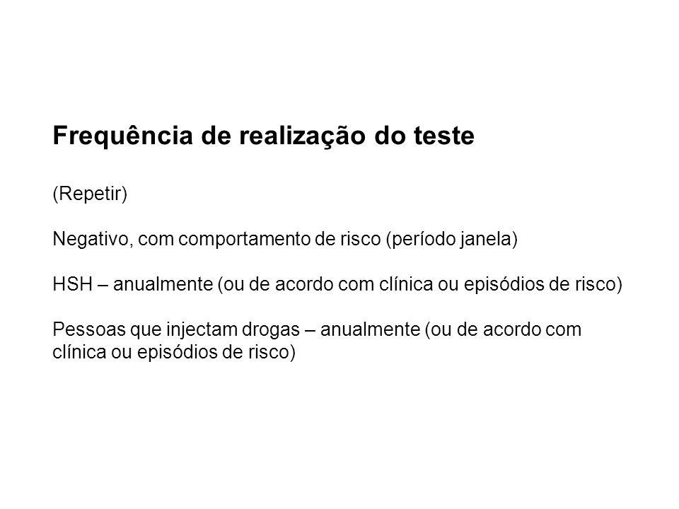 Frequência de realização do teste (Repetir) Negativo, com comportamento de risco (período janela) HSH – anualmente (ou de acordo com clínica ou episódios de risco) Pessoas que injectam drogas – anualmente (ou de acordo com clínica ou episódios de risco)