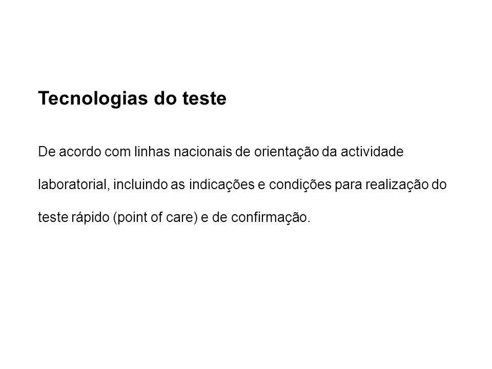 Tecnologias do teste De acordo com linhas nacionais de orientação da actividade laboratorial, incluindo as indicações e condições para realização do teste rápido (point of care) e de confirmação.