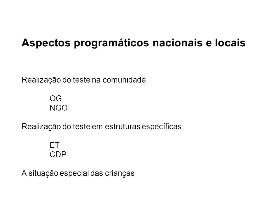 Aspectos programáticos nacionais e locais Realização do teste na comunidade OG NGO Realização do teste em estruturas específicas: ET CDP A situação especial das crianças