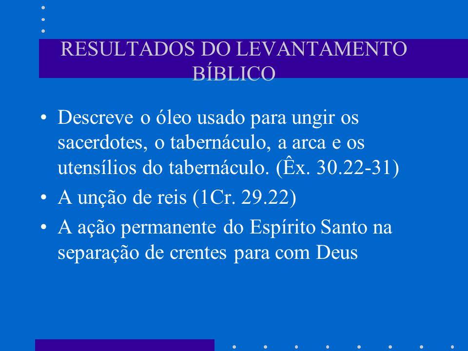 RESULTADOS DO LEVANTAMENTO BÍBLICO Descreve o óleo usado para ungir os sacerdotes, o tabernáculo, a arca e os utensílios do tabernáculo. (Êx. 30.22-31