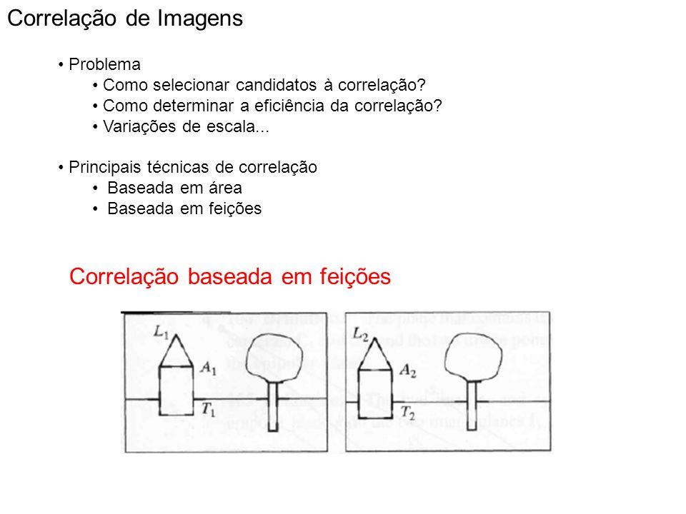 Correlação de Imagens Problema Como selecionar candidatos à correlação? Como determinar a eficiência da correlação? Variações de escala... Principais