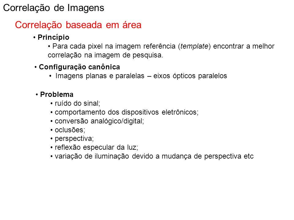Correlação de Imagens Correlação baseada em área Princípio Para cada pixel na imagem referência (template) encontrar a melhor correlação na imagem de