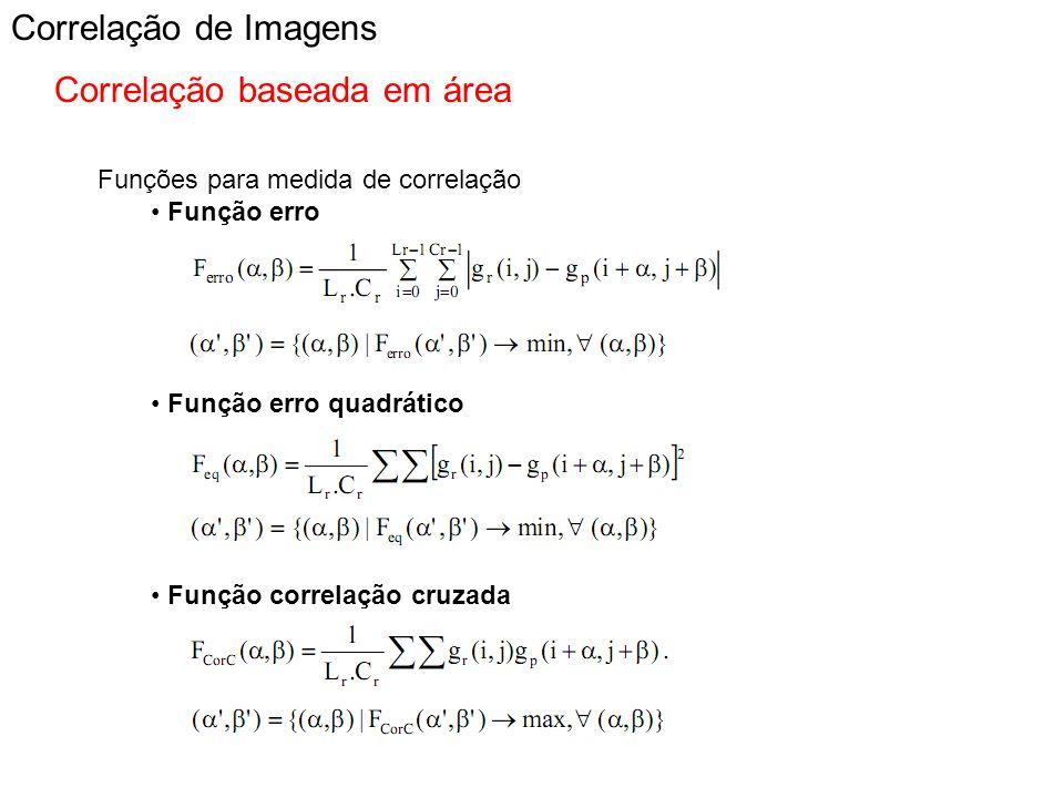 Correlação de Imagens Correlação baseada em área Funções para medida de correlação Função erro Função erro quadrático Função correlação cruzada