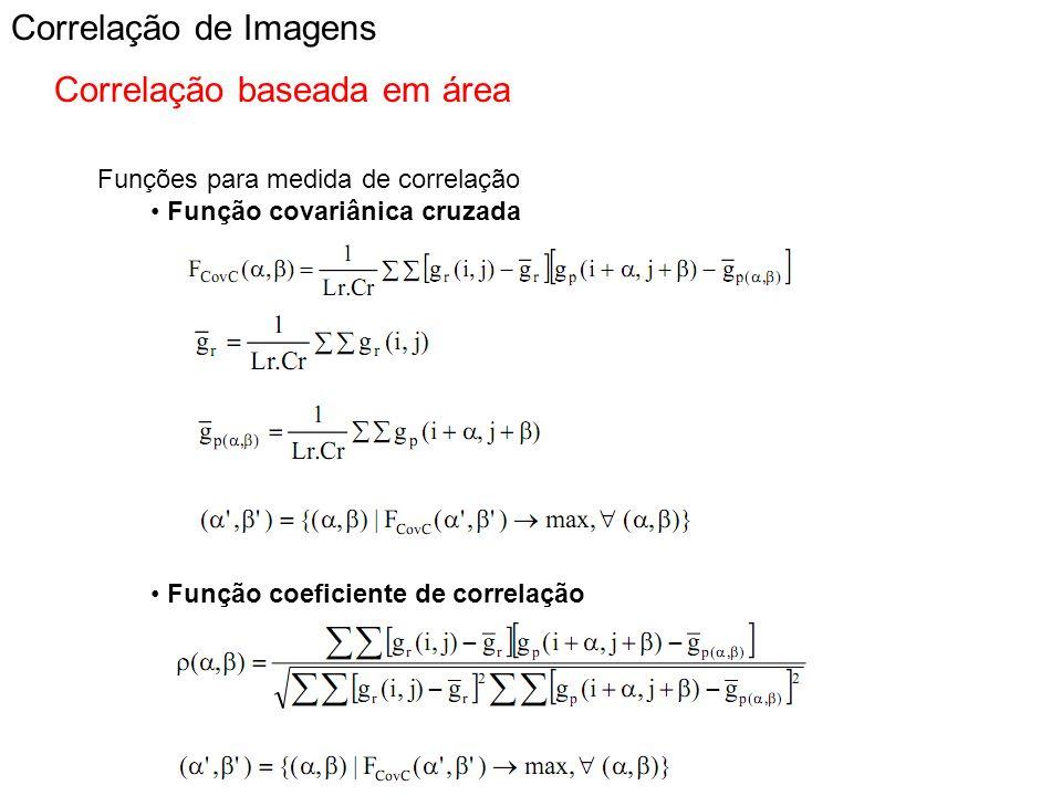 Correlação de Imagens Correlação baseada em área Funções para medida de correlação Função covariânica cruzada Função coeficiente de correlação