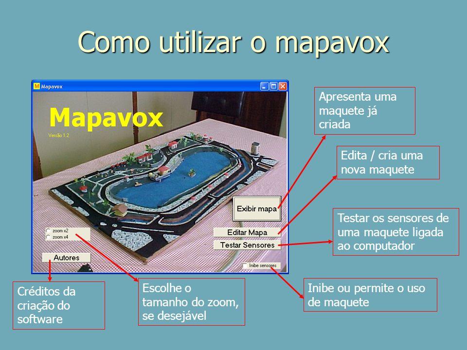 Como utilizar o mapavox Apresenta uma maquete já criada Edita / cria uma nova maquete Escolhe o tamanho do zoom, se desejável Créditos da criação do s