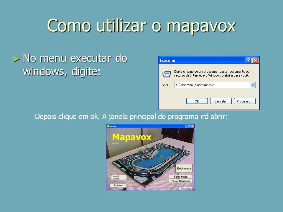 Como utilizar o mapavox Apresenta uma maquete já criada Edita / cria uma nova maquete Escolhe o tamanho do zoom, se desejável Créditos da criação do software Testar os sensores de uma maquete ligada ao computador Inibe ou permite o uso de maquete