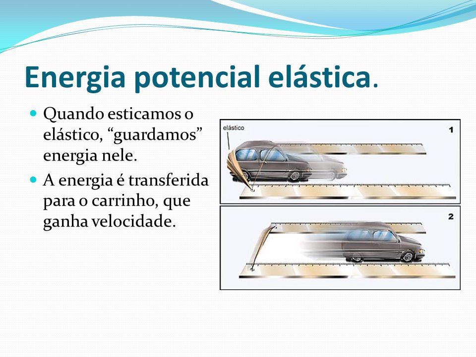 Energia potencial elástica. Quando esticamos o elástico, guardamos energia nele. A energia é transferida para o carrinho, que ganha velocidade.
