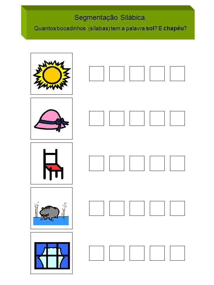 Segmentação Silábica. Quantos bocadinhos (sílabas) tem a palavra sol? E chapéu?
