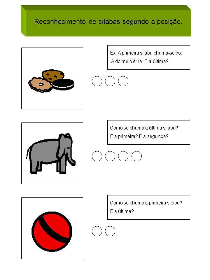 Reconhecimento de sílabas segundo a posição. Ex: A primeira sílaba chama-se bo. A do meio é: la. E a última? Como se chama a última sílaba? E a primei