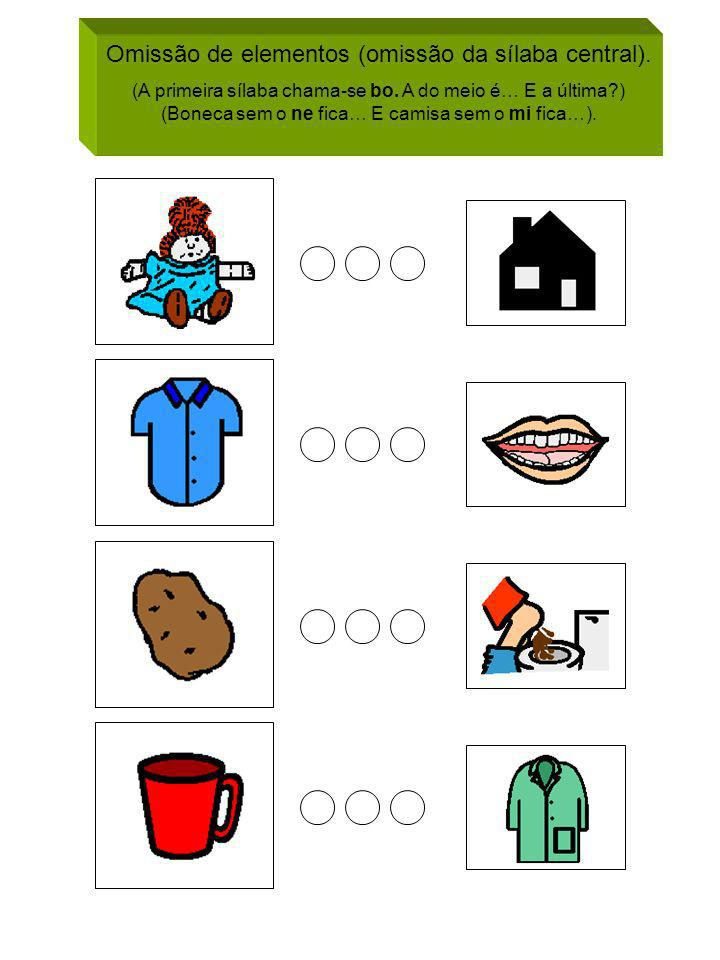 Omissão de elementos (omissão da sílaba central). (A primeira sílaba chama-se bo. A do meio é… E a última?) (Boneca sem o ne fica… E camisa sem o mi f