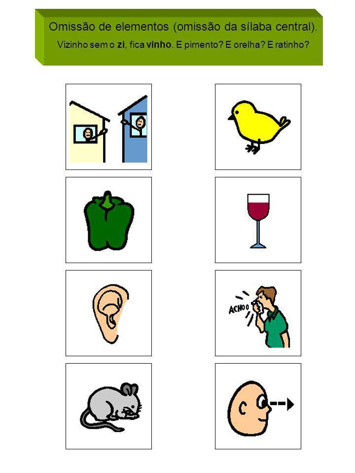 Omissão de elementos (omissão da sílaba central). Vizinho sem o zi, fica vinho. E pimento? E orelha? E ratinho?