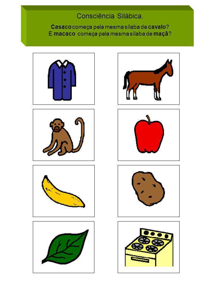 Consciência Silábica. Casaco começa pela mesma sílaba de cavalo? E macaco começa pela mesma sílaba de maçã?