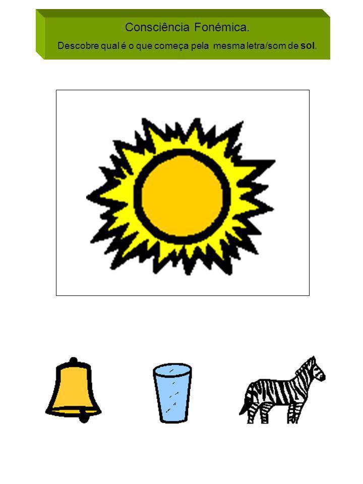 Consciência Fonémica. Descobre qual é o que começa pela mesma letra/som de sol.
