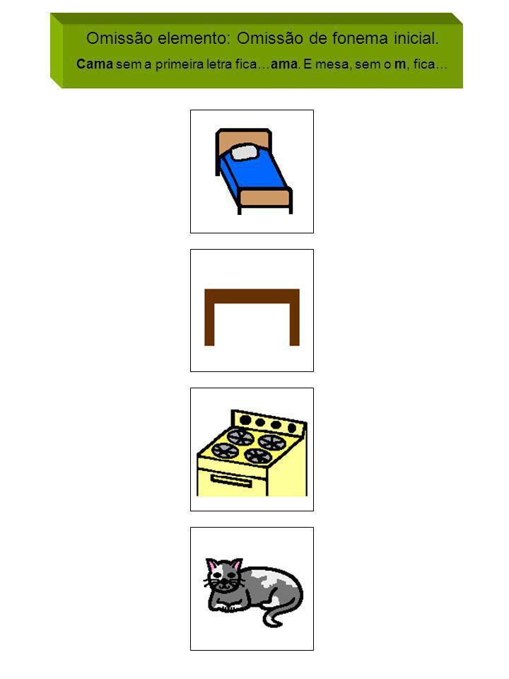 Omissão elemento: Omissão de fonema inicial. Cama sem a primeira letra fica…ama. E mesa, sem o m, fica…