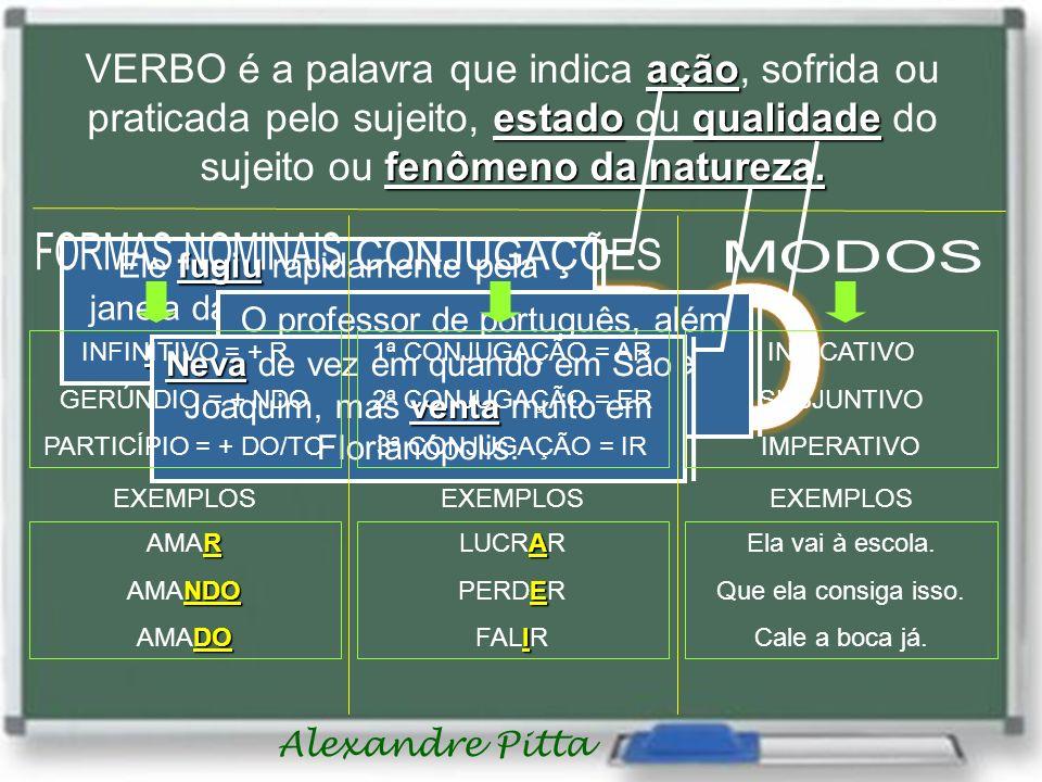 Alexandre Pitta VERBO é a palavra que indica a aa ação, sofrida ou praticada pelo sujeito, e ee estado ou q qq qualidade do sujeito ou f ff fenômeno da natureza.
