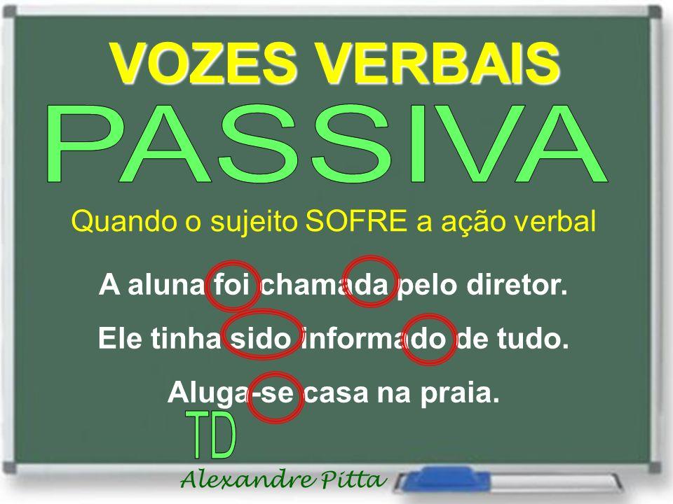 Alexandre Pitta VOZES VERBAIS Quando o sujeito SOFRE a ação verbal A aluna foi chamada pelo diretor.