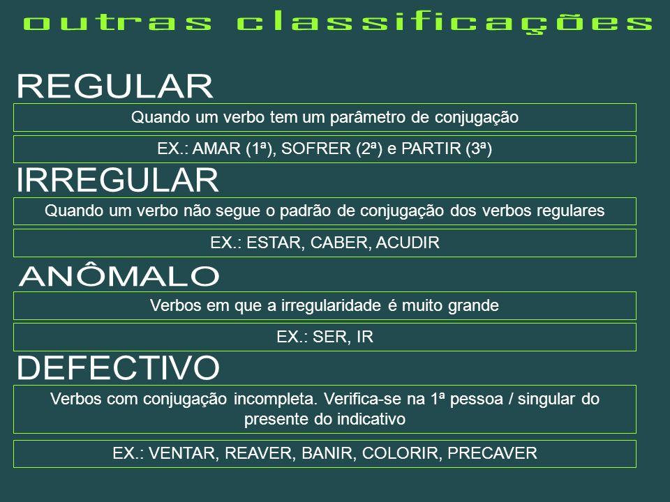 Quando um verbo tem um parâmetro de conjugação EX.: AMAR (1ª), SOFRER (2ª) e PARTIR (3ª) Quando um verbo não segue o padrão de conjugação dos verbos r