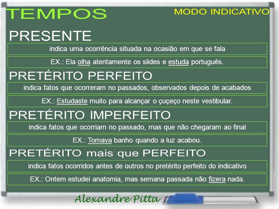 Alexandre Pitta indica uma ocorrência situada na ocasião em que se fala EX.: Ela olha atentamente os slides e estuda português. indica fatos que ocorr