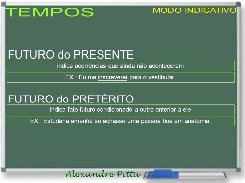 Alexandre Pitta indica ocorrências que ainda não aconteceram EX.: Eu me inscreverei para o vestibular.