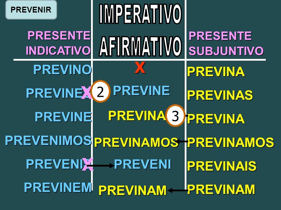 PRESENTEINDICATIVO PRESENTESUBJUNTIVO PREVINO PREVINES PREVINE PREVENIMOS PREVENIS PREVINEM PREVINA PREVINAS PREVINA PREVINAMOS PREVINAIS PREVINAM X X X PREVINE PREVENI PREVINA PREVINAMOS PREVINAM 2 3 PREVENIR
