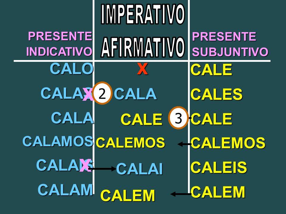 PRESENTEINDICATIVO PRESENTESUBJUNTIVO CALO CALAS CALA CALAMOS CALAIS CALAM CALE CALES CALE CALEMOS CALEIS CALEM X X X CALA CALAI CALE CALEMOS CALEM 2 3