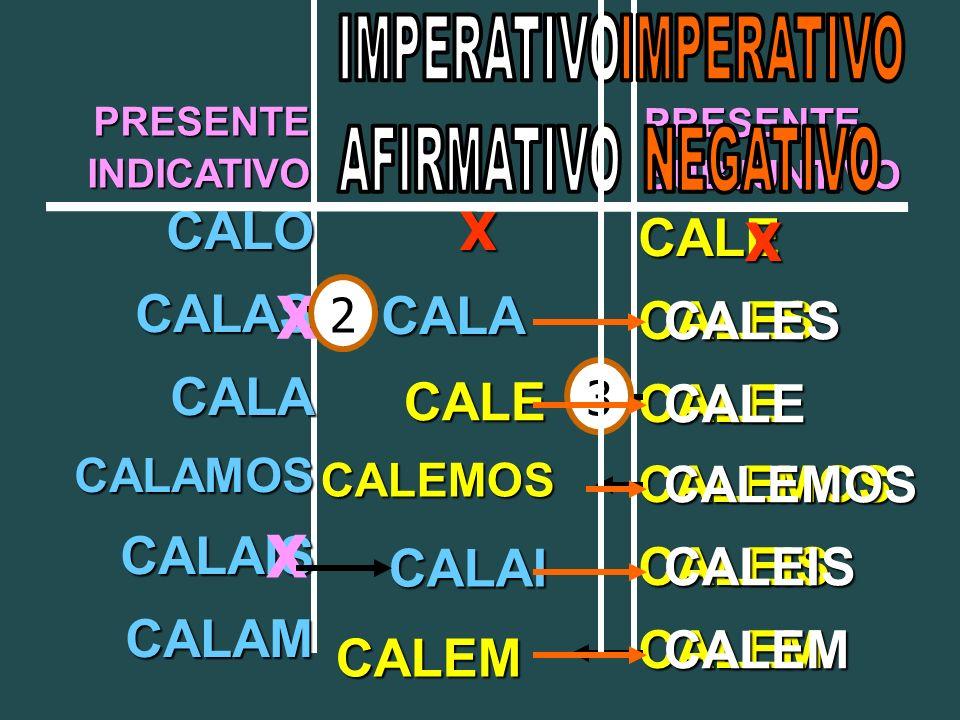 PRESENTEINDICATIVO PRESENTESUBJUNTIVO CALOCALASCALACALAMOSCALAISCALAM CALECALESCALECALEMOSCALEISCALEM X X X CALA CALAI CALE CALEMOS CALEM 2 3 X CALESCALECALEMOSCALEISCALEM