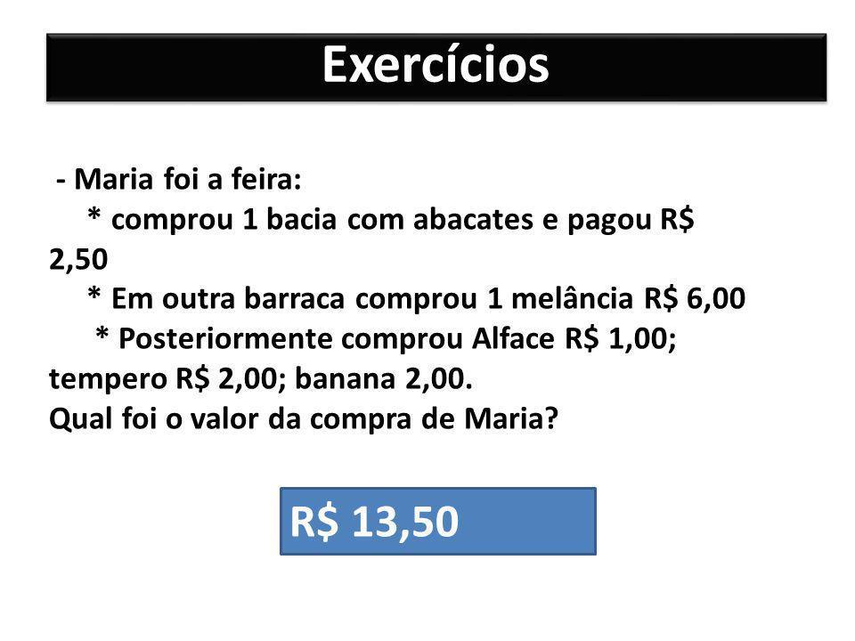 Exercícios - Maria foi a feira: * comprou 1 bacia com abacates e pagou R$ 2,50 * Em outra barraca comprou 1 melância R$ 6,00 * Posteriormente comprou