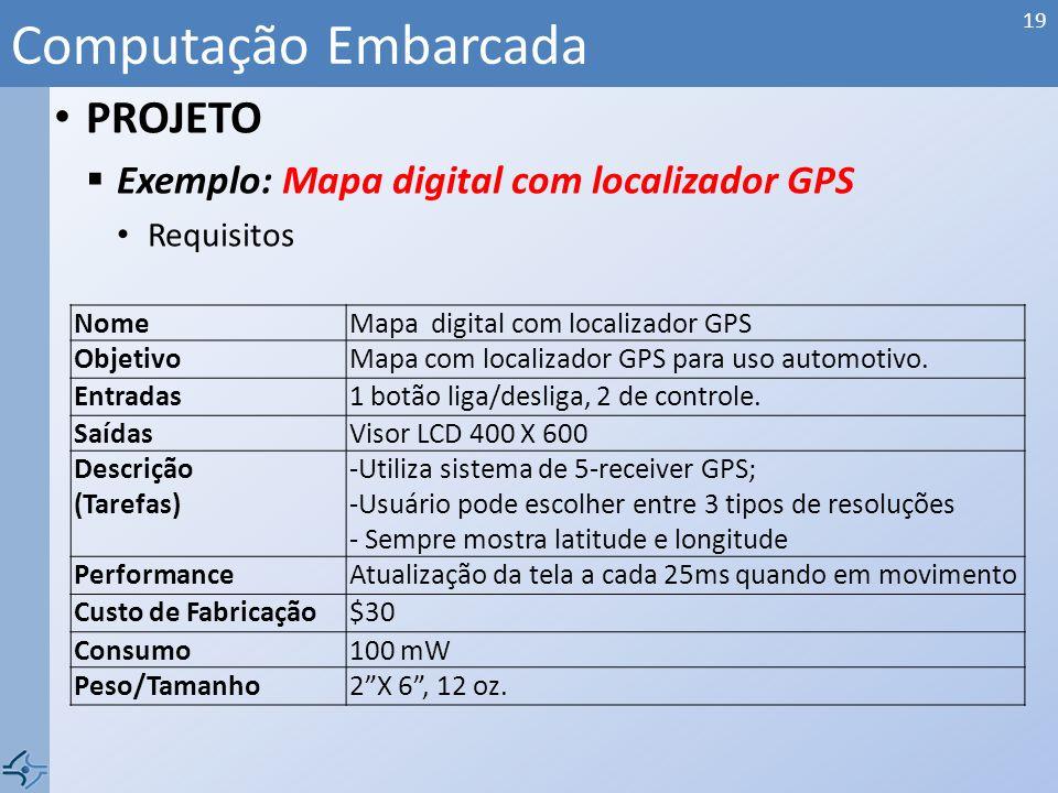 PROJETO Exemplo: Mapa digital com localizador GPS Obtém a localização pelo GPS Imprime o mapa com as informações da base de dados local Computação Emb